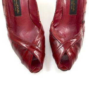 Vintage genuine eel skin hand made peep toe shoes